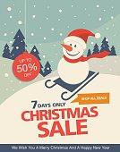 Christmas sale. Vintage vector banner design