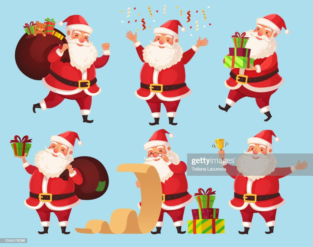 Christmas Santa cartoon character. Funny Santa Claus with Xmas presents, winter holiday characters vector illustration set