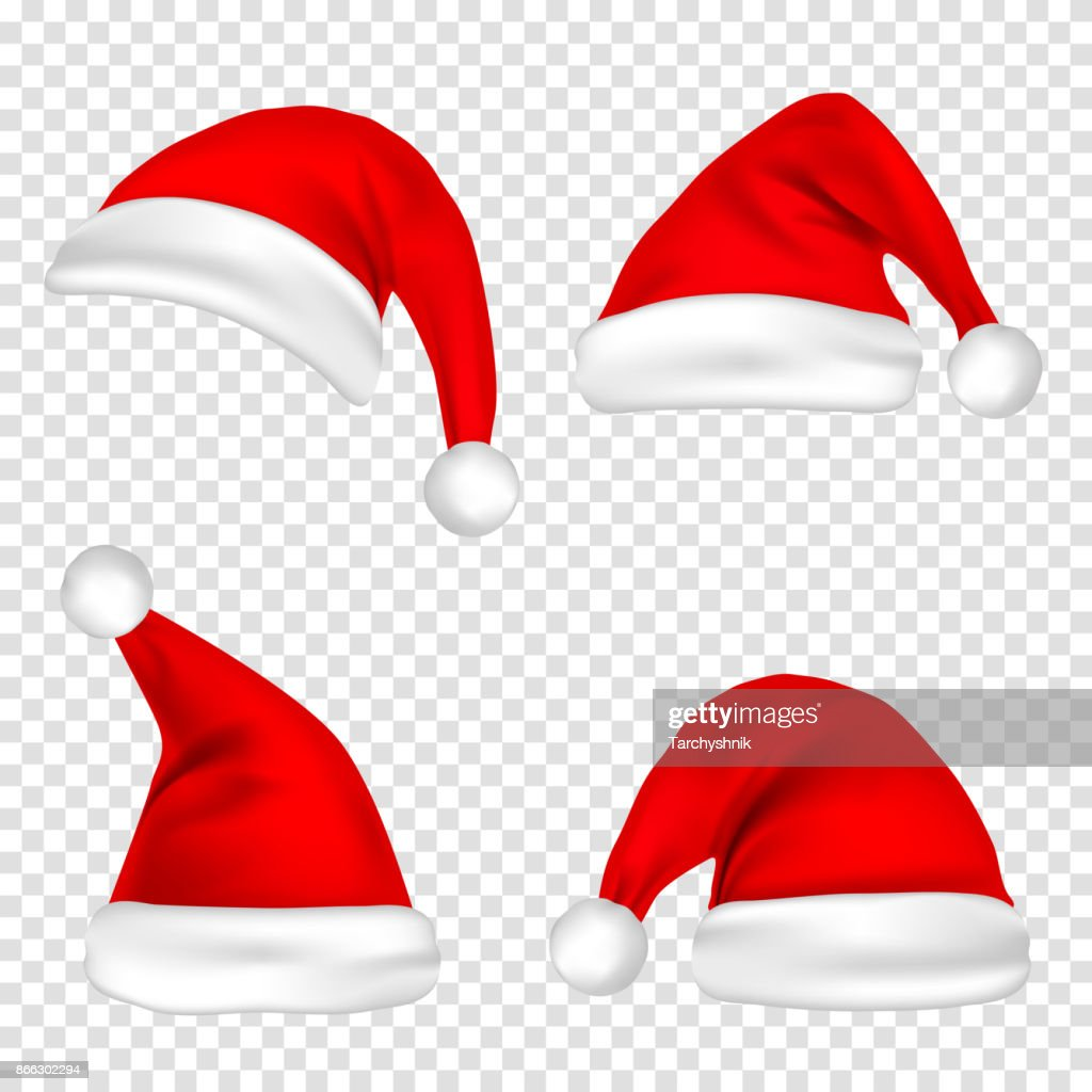 christmas santa claus hats set new year red hat isolated on transparent background vector