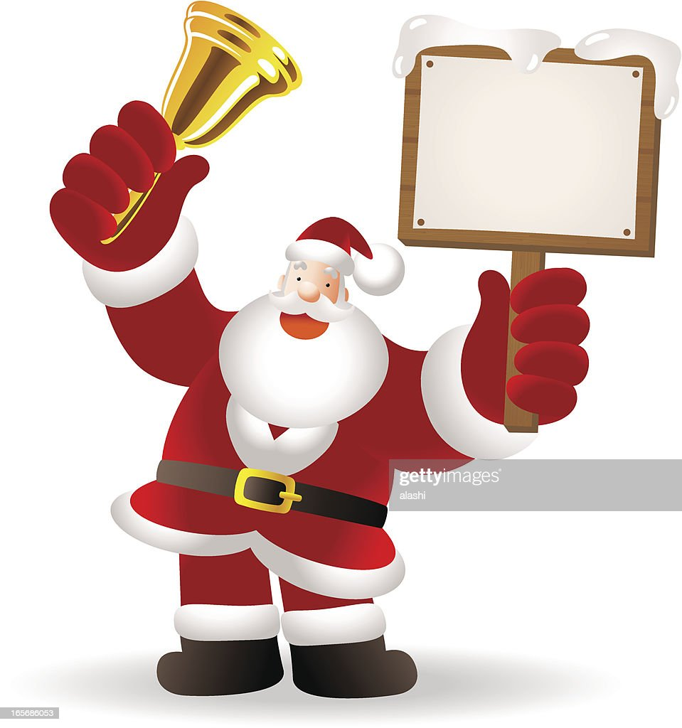 Christmas Santa Claus Shaking Jingle Bell And Holding Blank Sign High-Res Vector Graphic - Getty ...