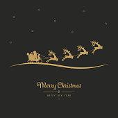 christmas santa sleigh flying golden black background