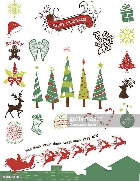 christmas santa, trees and ornaments set - gingerbread house stock illustrations, clip art, cartoons, & icons