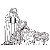 Christmas scene. Mary, Joseph and the baby Jesus, Son of God, symbol of Christianity hand drawn vector illustration.