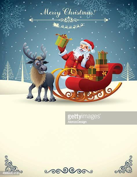 クリスマスのシーン - サンタ ソリ点のイラスト素材/クリップアート素材/マンガ素材/アイコン素材