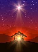Christmas scene with shining star
