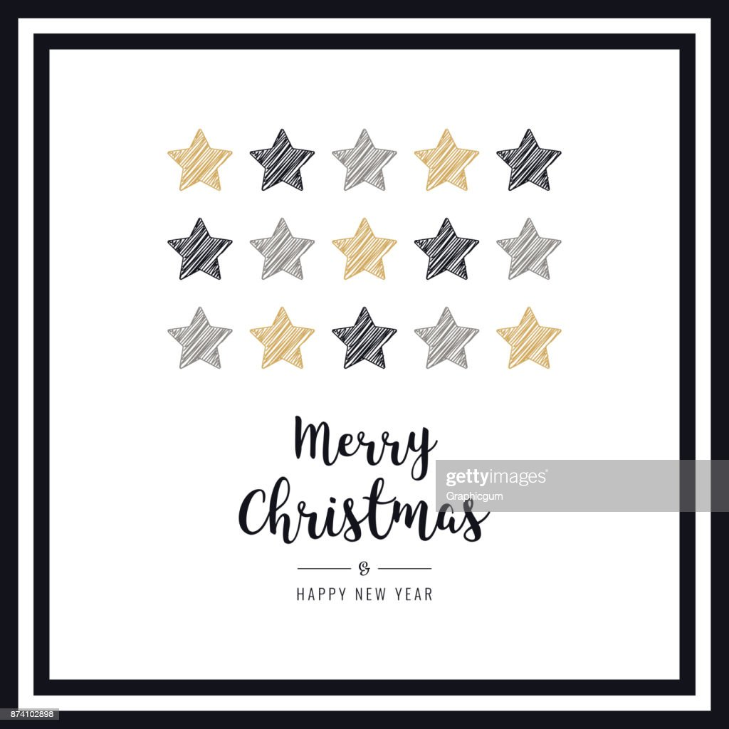 Christmas Scribble Drawing Stars Greeting Card Frame Black White