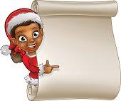 Christmas Scroll Elf Cartoon