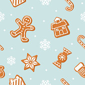 Christmas seamless background. Gingerbread man, house, candies on pastel blue.