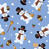 Christmas seamless background with snowmen. Vector illustration.