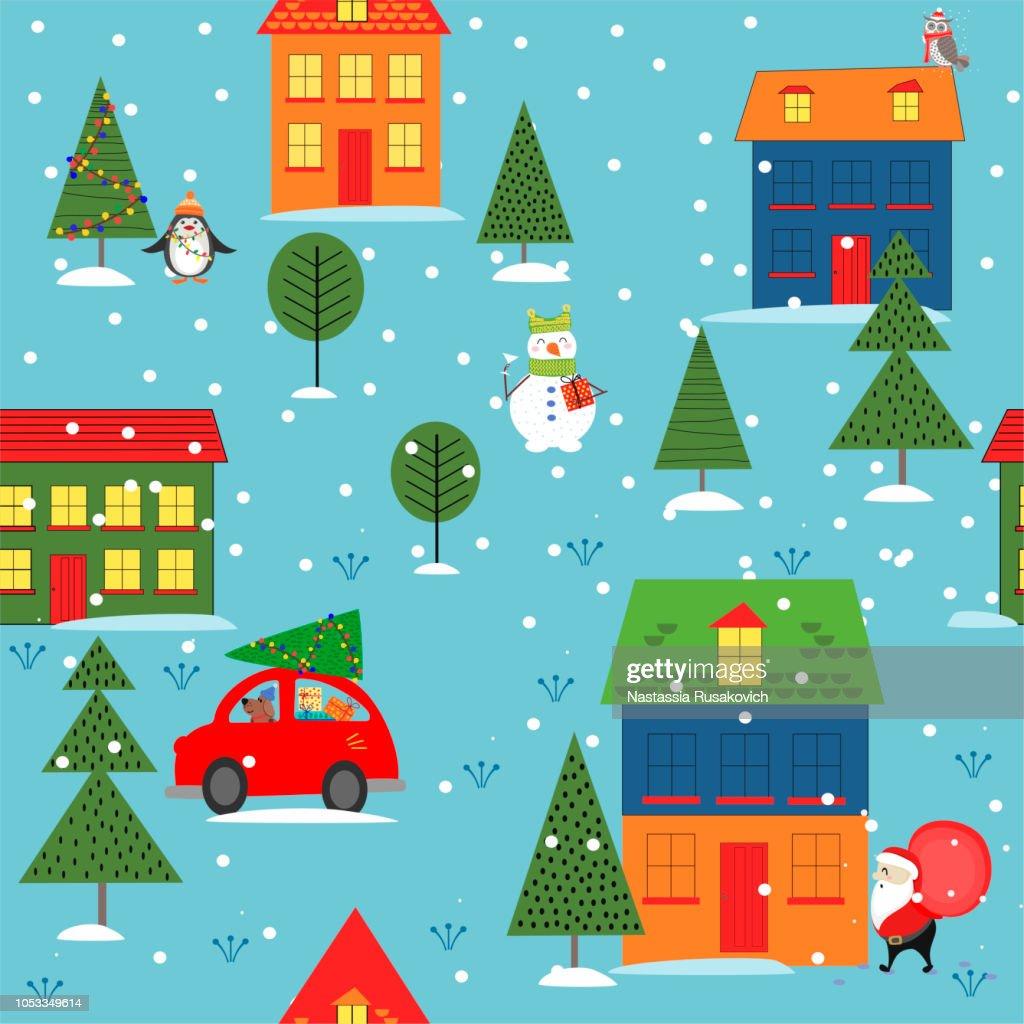Christmas seamless backgrounds, Christmas evening. Vector illustration.
