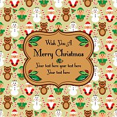 Christmas seamless card with characters, beige