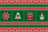 Christmas Seamless Knit Pattern with Holiday Symbols: Snowman, Snowflake, Present Box and Christmas Tree. Scheme for Wool Knitted Sweater Pattern Design or Cross Stitch Embroidery