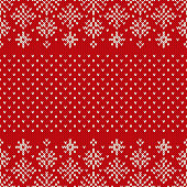 Christmas Seamless Knitted Pattern with Snowflakes. Christmas and New Year Design Background. Knitting Sweater Design
