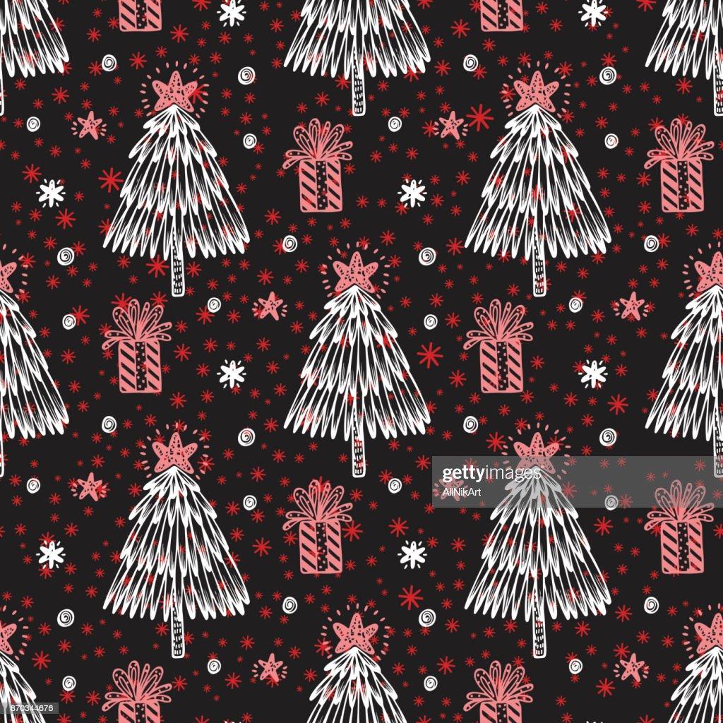 Weihnachten Seamless Pattern Handgezeichnete Doodle Weihnachtsbaum