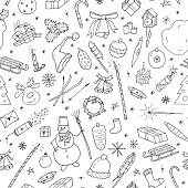Christmas seamless pattern in doodle style.Hand drawn vector illustration.