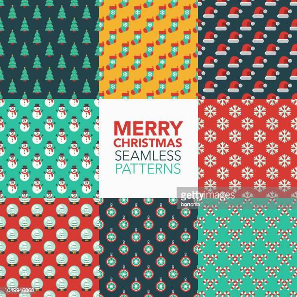 christmas seamless pattern set - candy cane stock illustrations