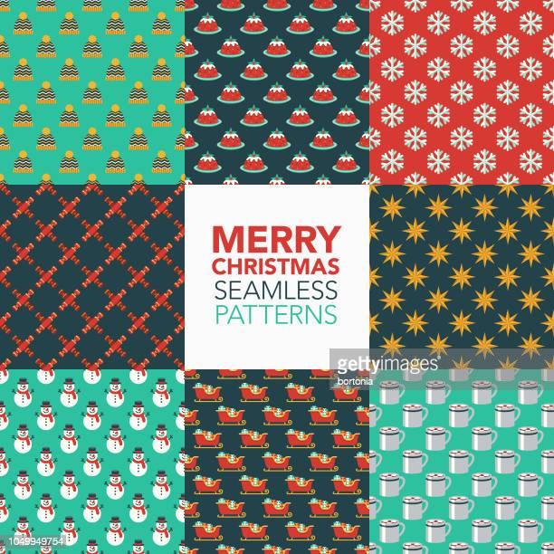 クリスマスのシームレス パターン セット - クリスマスクラッカー点のイラスト素材/クリップアート素材/マンガ素材/アイコン素材