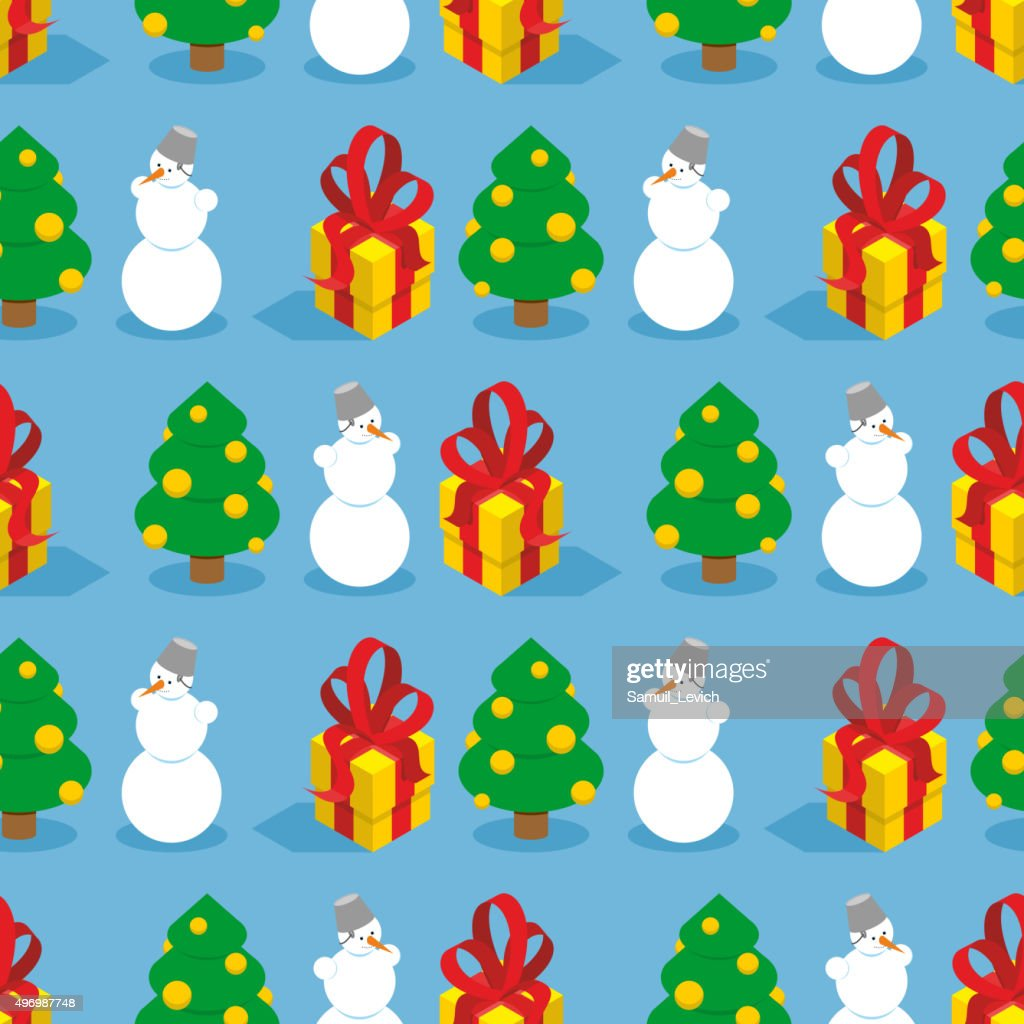 Christmas seamless pattern. Symbols of  winter holiday: Christma