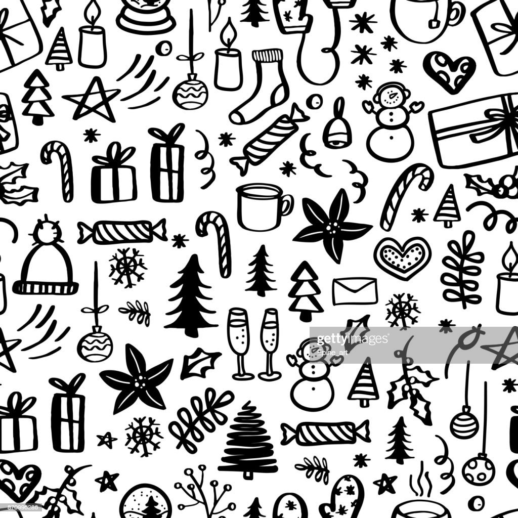 Christmas seamless pattern with doodles. Hand drawn xmas illustrations.