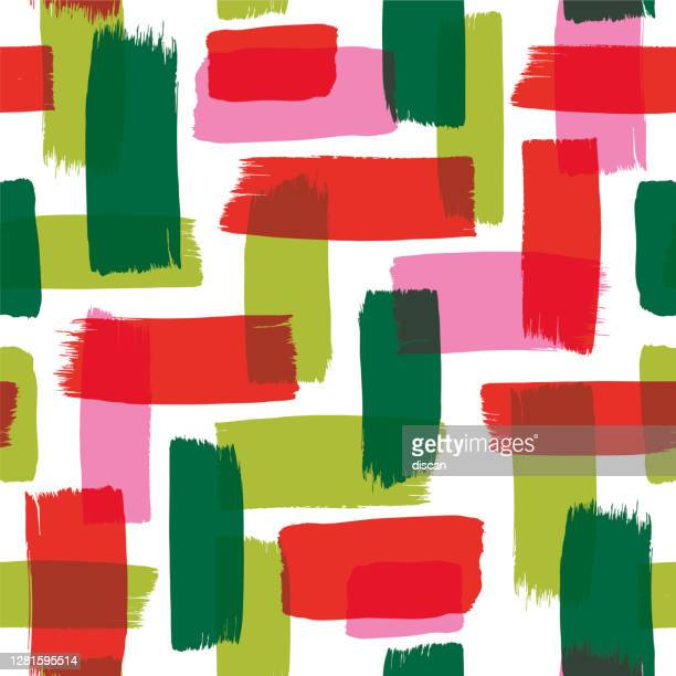 christmas seamless pattern with painted brush strokes. - graphic print stock illustrations