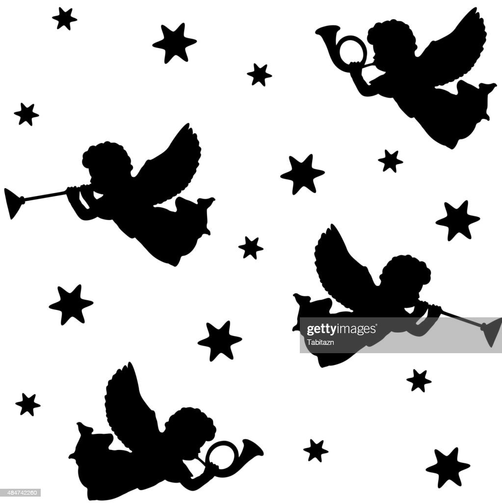 Christmas seamless pattern with silhouettes of angels, trumpets and stars