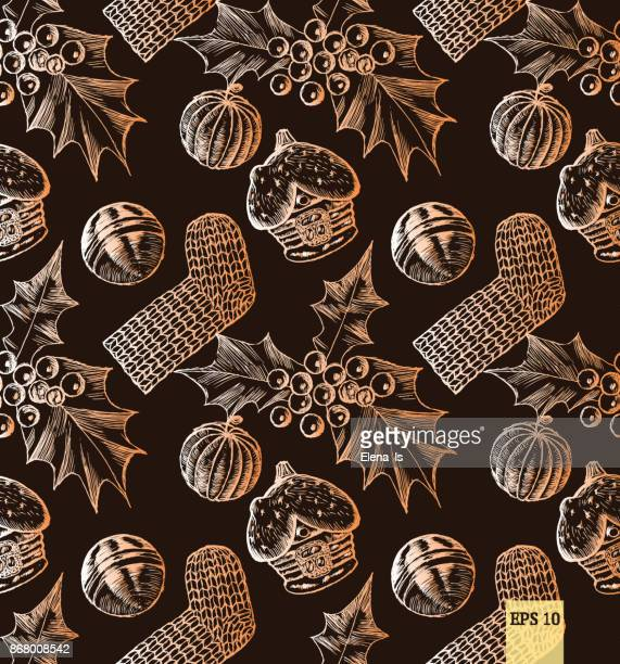 christmas seamless pattern with toys for wrapping paper and cards. engraving - scoop shape stock illustrations, clip art, cartoons, & icons