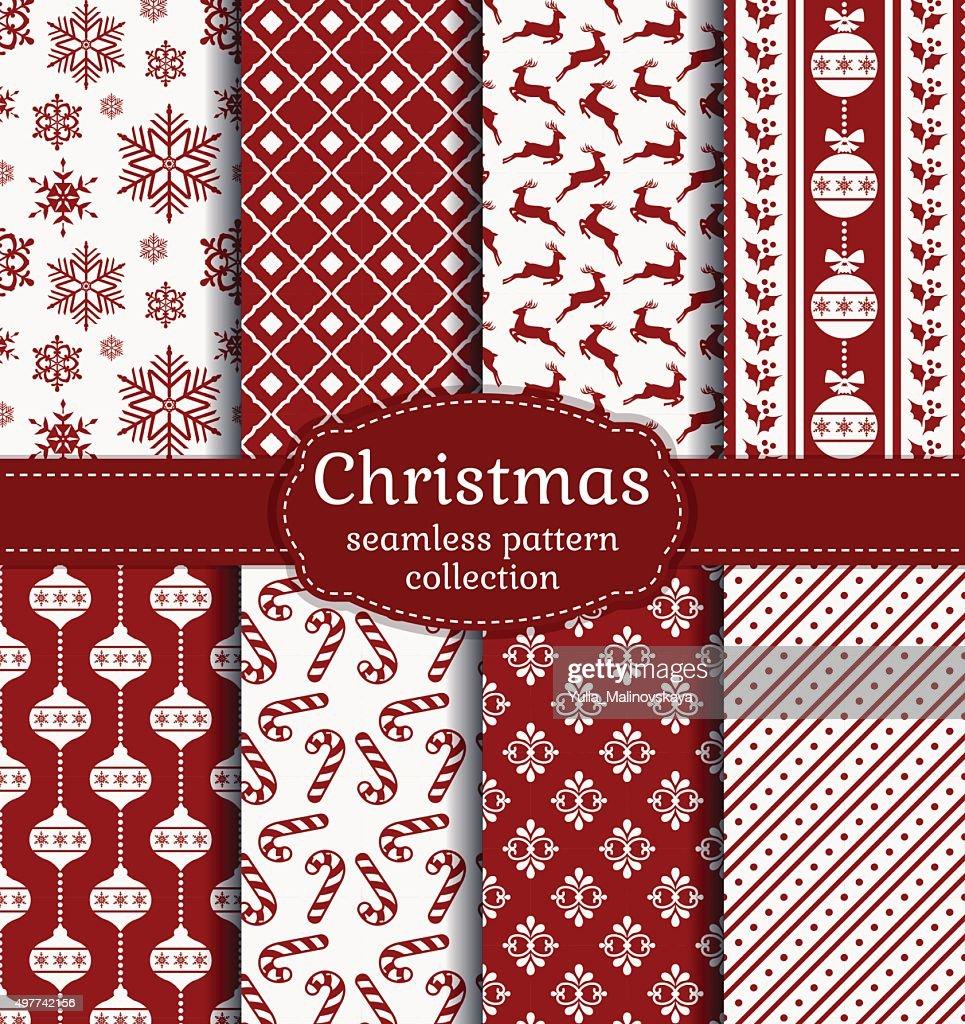 Christmas seamless patterns. Vector set.