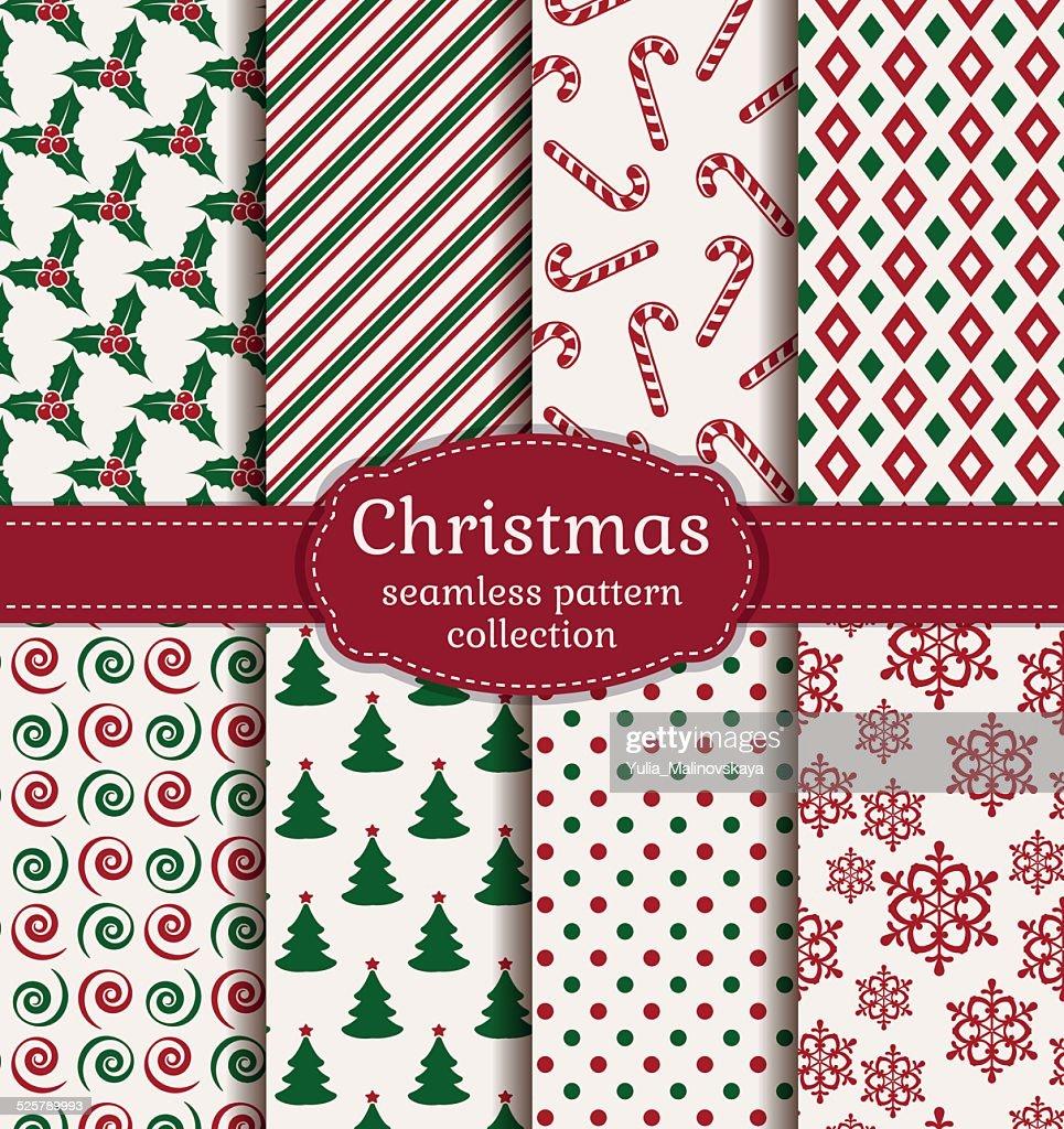 Christmas seamless patterns. Vector set.