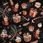 Christmas seamless vector pattern. Christmas gifts
