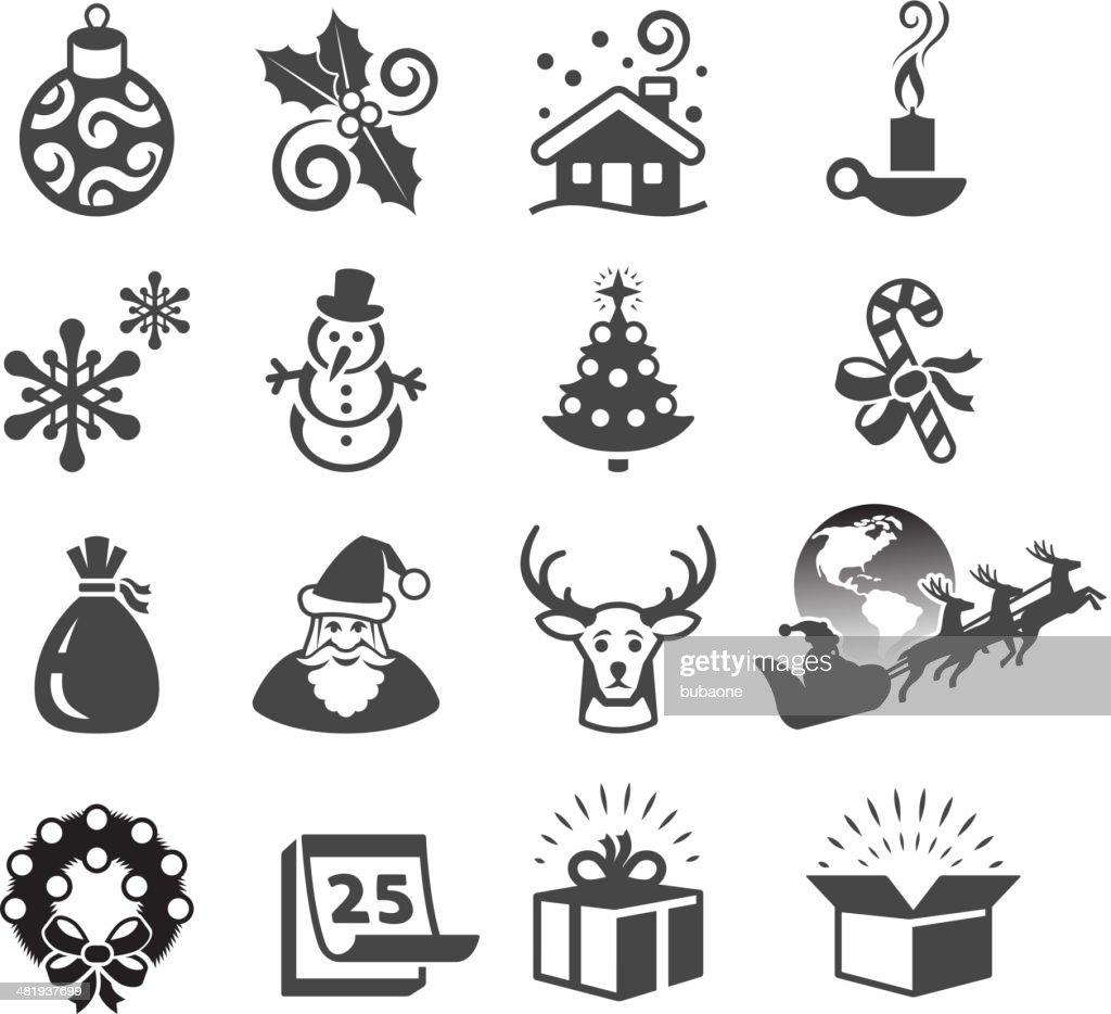 Christmas Season and Traditions black & white vector icon set. : stock illustration
