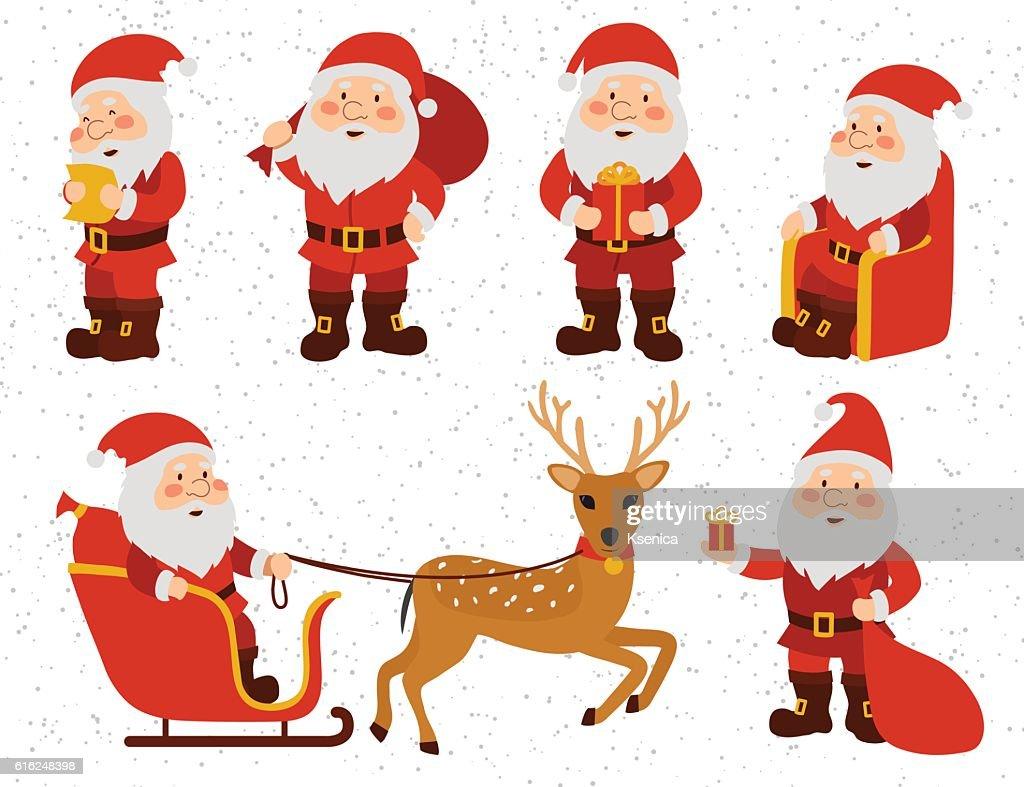 Christmas set. Collection Of Santa Claus. : Arte vectorial