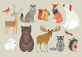 Christmas set, hand drawn style - forest animals. \