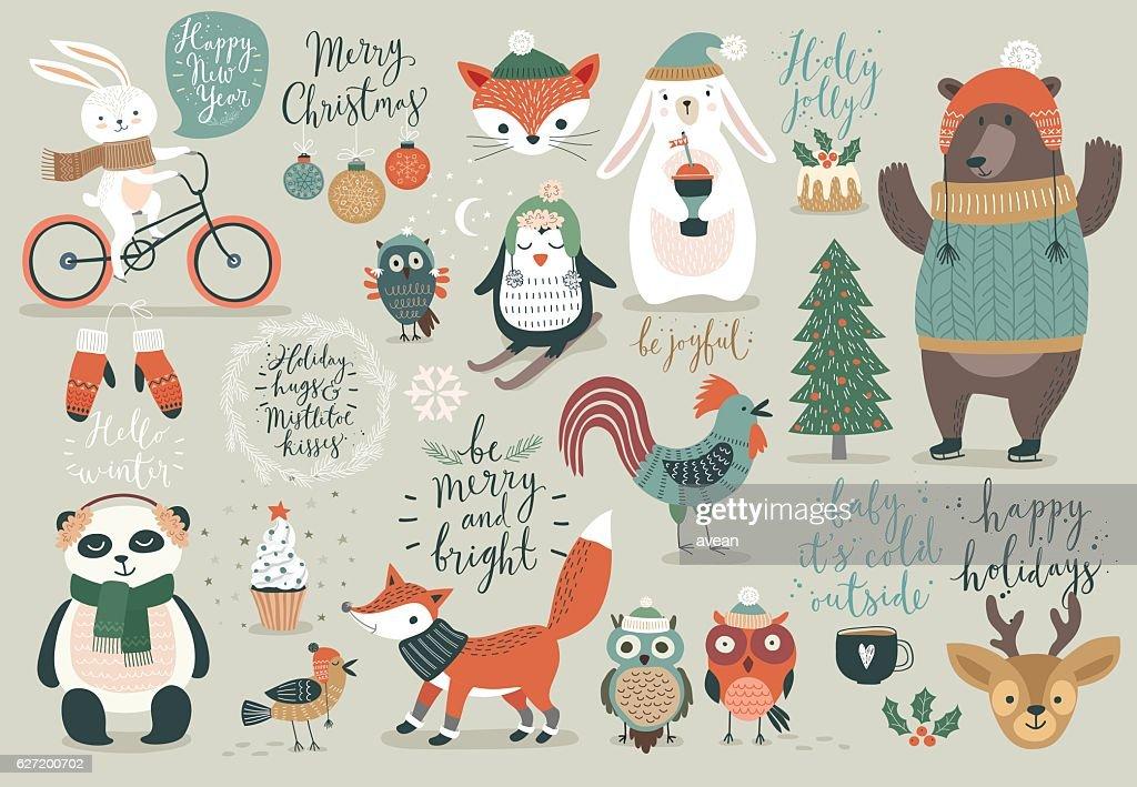 Christmas set, hand drawn style