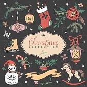 Christmas set of hand drawn festive illustrations.