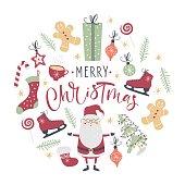 Christmas set. Santa, Christmas tree and other. Handwritten modern brush lettering. Hand drawn design elements. Vector illustration.