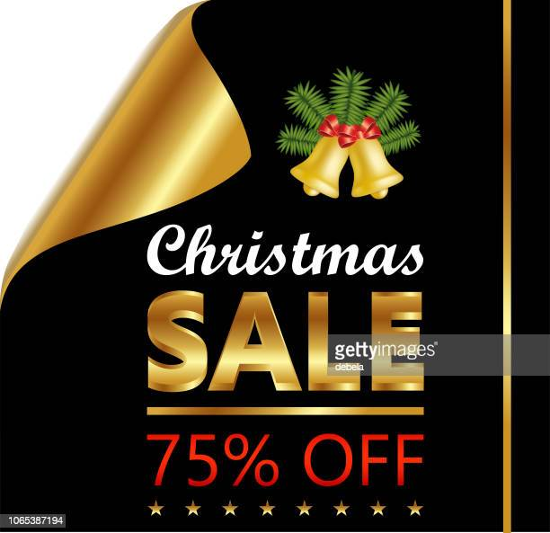 christmas seventy five percent sale on golden black curled luxury paper - number 75 stock illustrations, clip art, cartoons, & icons