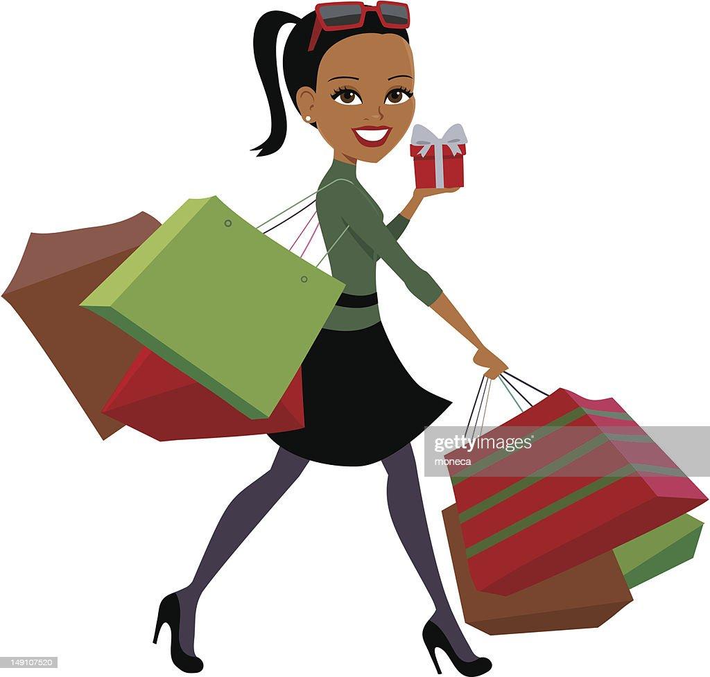 Christmas Shopping Girl Illustration