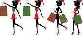 Christmas shopping girls