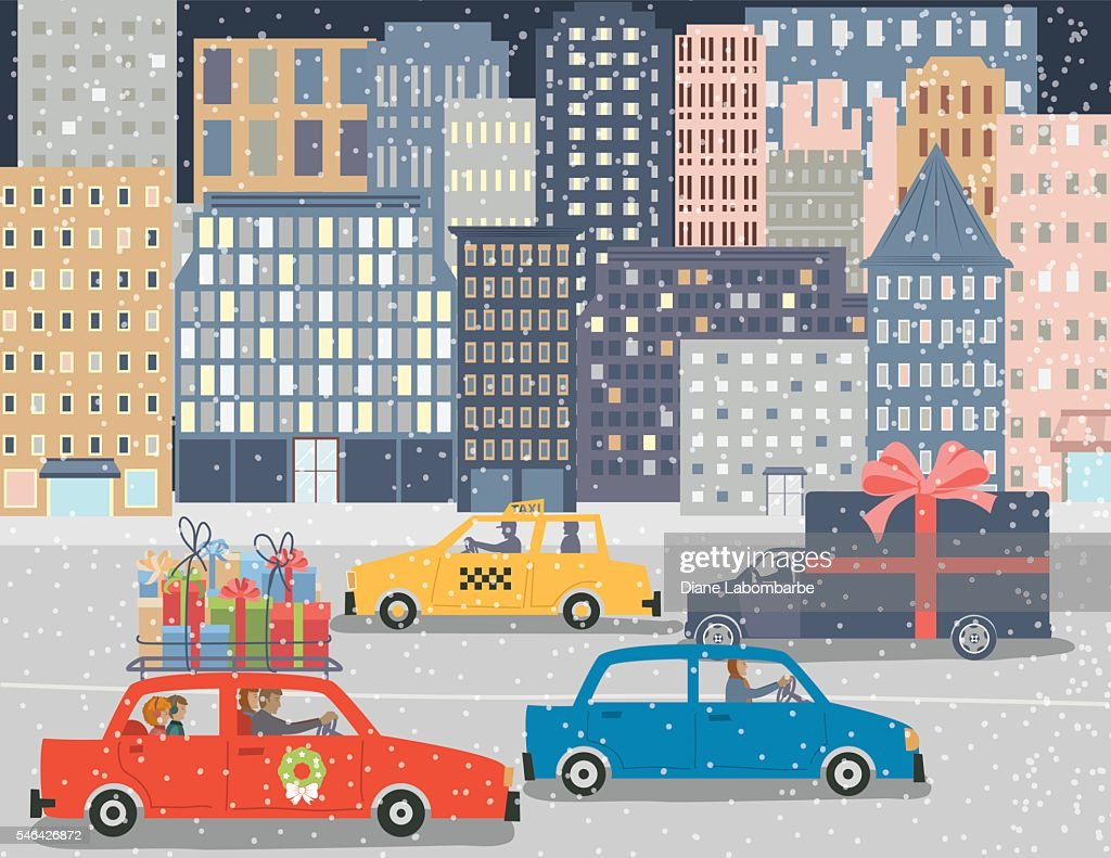 Christmas Shopping in A Big City : stock illustration
