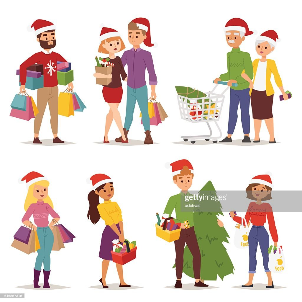 Christmas shopping people vector : Vector Art