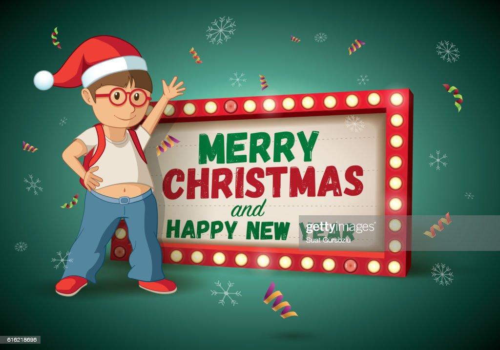 Christmas Signboard and Santa kid : Arte vettoriale