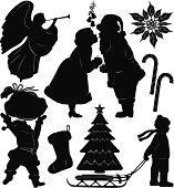 Christmas silhouette set