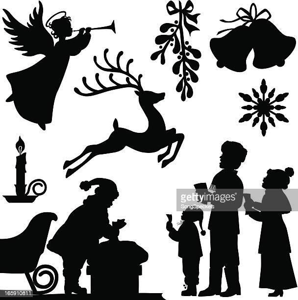 christmas silhouettes - mistletoe stock illustrations, clip art, cartoons, & icons
