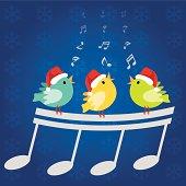 Christmas singing birds