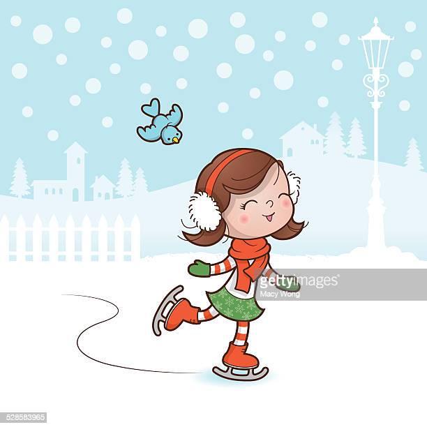 christmas skating girl - ice skating stock illustrations