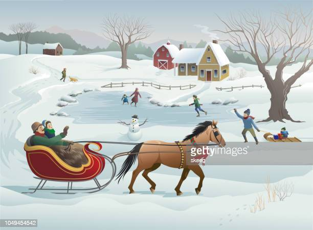 christmas sleigh ride - tobogganing stock illustrations, clip art, cartoons, & icons