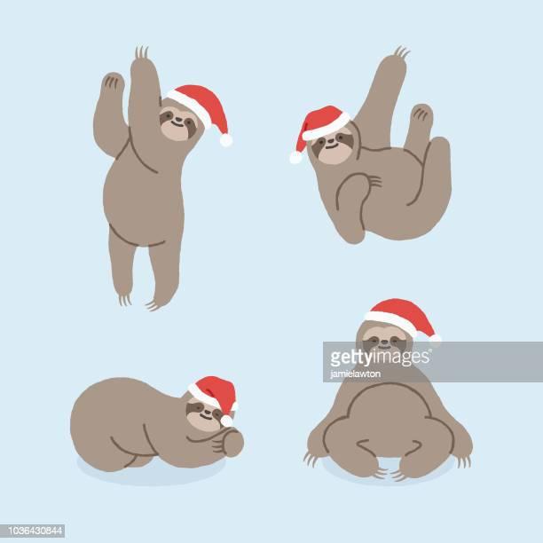 illustrations, cliparts, dessins animés et icônes de personnages de noël paresseux - mou