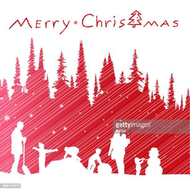 christmas snow and reindeer - snow shovel stock illustrations