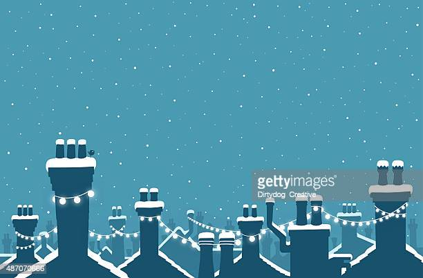 christmas snow covered chimneys strung with lights - town stock illustrations