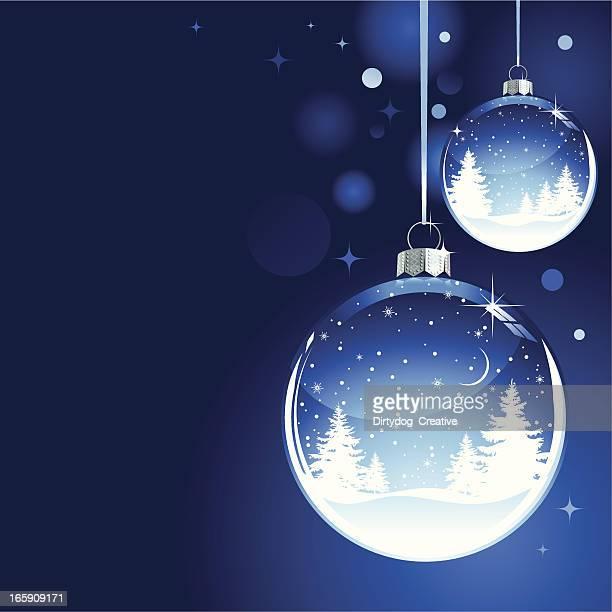weihnachten schnee globus bauble mit bäumen und schneeflocken - weichzeichner stock-grafiken, -clipart, -cartoons und -symbole